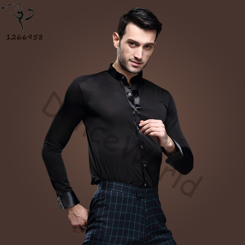 2018 New Men Ballroom Dance Tops Red/Black/White Latin Shirt Clothing For Dance Cha Cha/Rumba/Samba/Jazz Dancewear Top DQ6046