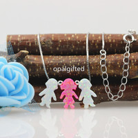2017 Hot Sale 8 5 13mm Synthetic Opal 3 Kids Boys And Girls Opal Necklace With