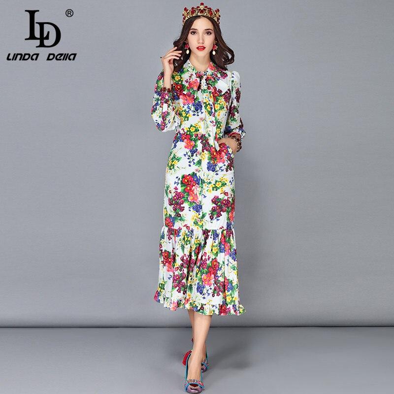 7b664f7e46d8 Abiti Vestiti Di Della Progettista Linda Midi Del Vestito Da Donne Collare  Modo Floreale Sirena Dress ...