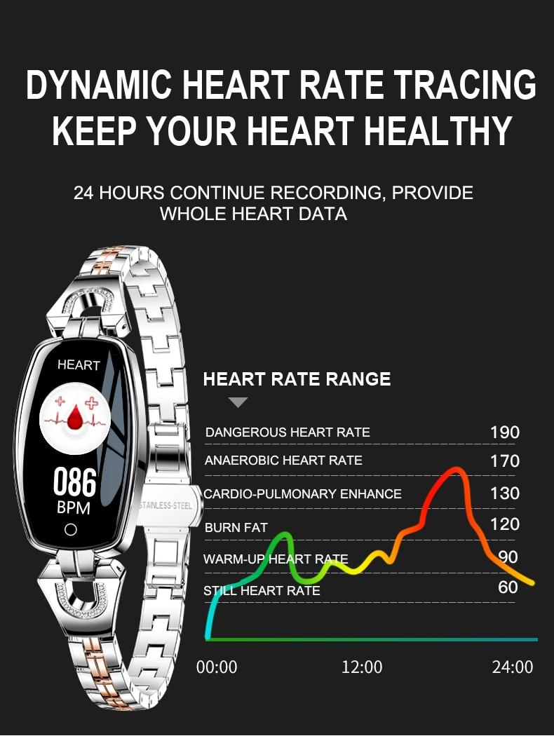 H8 Women Smart watch Fashion Heart Rate Monitor Blood Pressure Smart Band IP67 Waterproof Fitness Activity Tracker lady bracelet