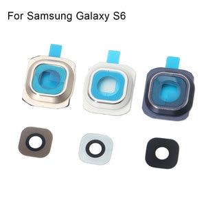 Image 4 - 1 комплект Задняя крышка объектива камеры стеклянная крышка с рамкой держатель для samsung Galaxy S6 запасные части