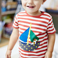 Little maven 2017 new summer baby boys clothes short sleeve t shirt 100% Cotton dog sailboat embroidered brand tee tops L017