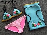 2017 New Style Crochet Neoprene Bikini Set Neoprene Triangle Swimwear Bikini Neoprene Embroidery Swimwear Bikini