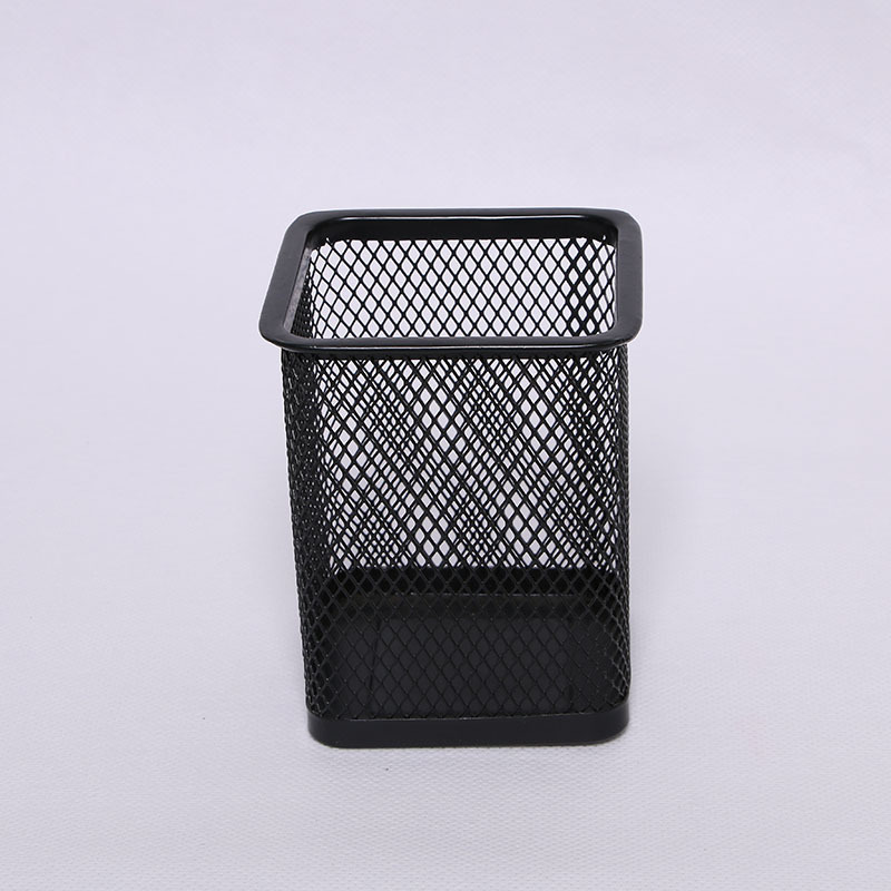 Hot 1PC Black Metal Mesh Square Office Organizer Cosmetic Pencil Pen Holders Stationery Container Office Supplies Desk Storage