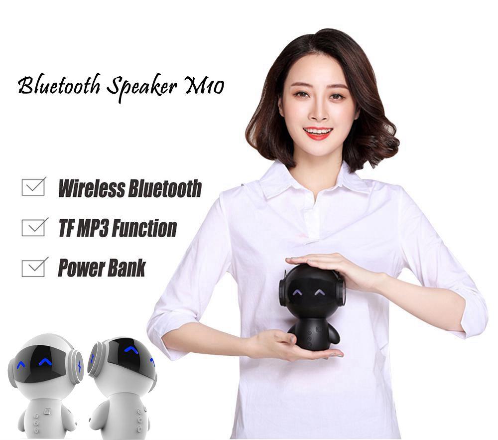New Robot font b Speaker b font Bluetooth Mini Bass Stereo Music Box Smart Handsfree Loudspeaker
