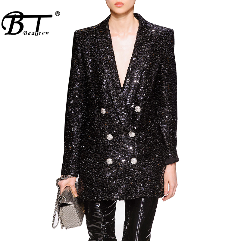 Beateen 2019 New Fashion Black Double-breasted Sequins Blazer Jackets Coats Long Sleeve Deep V