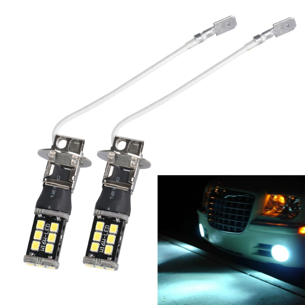 H3 15W LED Car Light Bulb 12V Super Bright White 6000K Auto Fog Lamp Driving Lamps DRL Daytime Running Lights Bulbs Universal auto super bright 3w white eagle eye daytime running fog light lamp bulbs 12v lights car light auto car styling oc 25