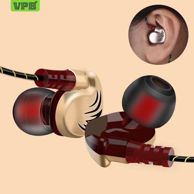 VPB V11 słuchawki sportowe przewodowe Super Bass 3.5mm Crack słuchawki wkładka douszna z mikrofonem słuchawkowy zestaw głośnomówiący dla Samsung