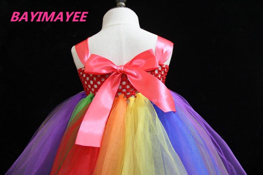 Vajzat me ngjyrosje ylberi fustan fëmijët me grep lule me grep Tutu - Veshje për fëmijë - Foto 5