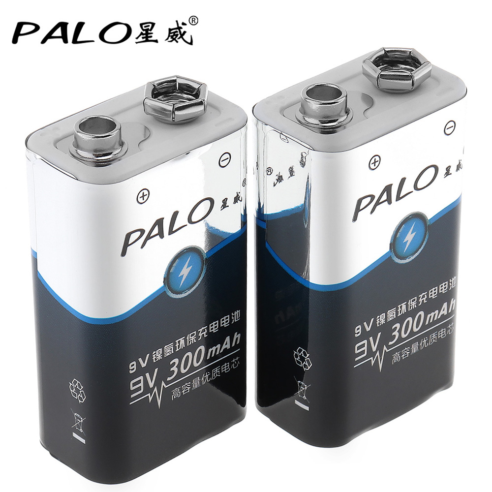 2pcs! PALO 300mAh 9V 6F22 Battery Ni-MH NiMH Rechargeable Battery 3A Charging Current for Multimeter Wireless Microphone Alarm 3 6v 2400mah rechargeable battery pack for psp 3000 2000