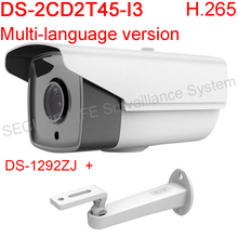 Многоязычным DS-2CD2T45-I3 Full HD 1080 P 4MP поддержка H.265 HEVC Onvif POE IP камеры видеонаблюдения открытый водонепроницаемый ик-диапазоне 30 м