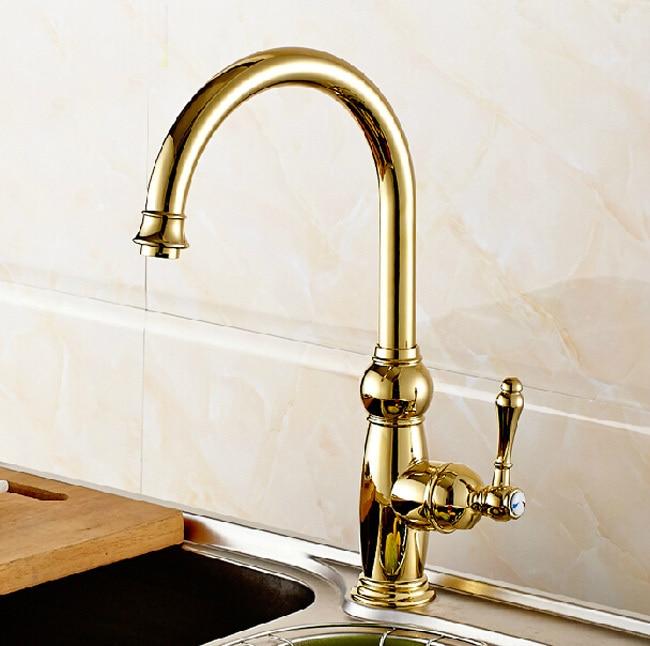 Beautifull Goose Neck Kitchen Sink Faucet Golden Rotate Spout Kitchen Mixer brass Taps Deck Mount