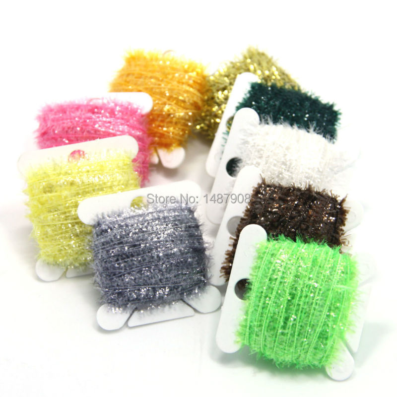 SAMSFX Fly Tying Materials Tinsel Chenille Ice Crystal Flash Yarn Fibers Flies Streamers Body Making 9 Color Assorted