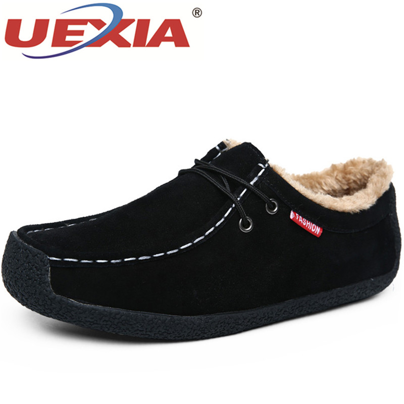 UEXIA New High Top Casual Shoes Men Warm Winter Plush Moccasin Solid Lace-up Hook Loop Man Fashion Pu Boots Flats Walking Shoes