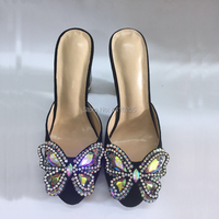 2019 High Heels Dress Slippers Women Wedding Shoes Rhinestone Summer Sandals Crystal Heel Shoes Woman