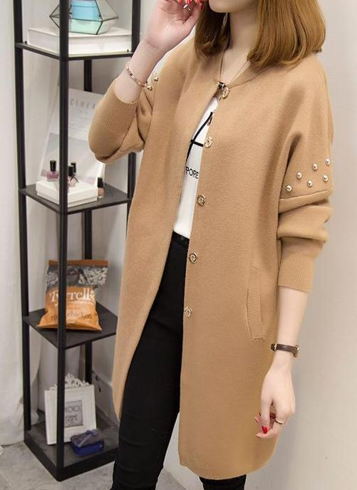 2017 new tide in autumn and winter long sweater cardigan sweater coat loose long sleeved jacket tide female students