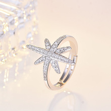 Rice Word Star Open Ring Meters Snow Zircon Ladies Jewelry Gifts For Women Silver Color Micro-Inlaid AAA