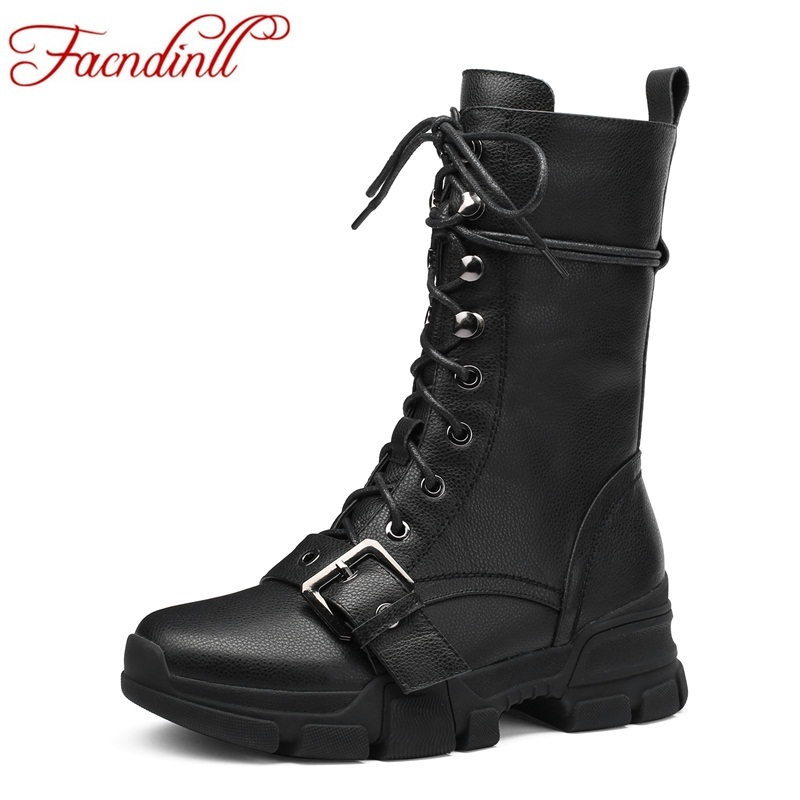 FACNDINLL brand genuine leather ankle boots for women wedge high heel black lace-up fashion autumn winter shoes motorcycle boots facndinll brand genuine leather ankle boots for women wedge high heel black lace up fashion autumn winter shoes motorcycle boots
