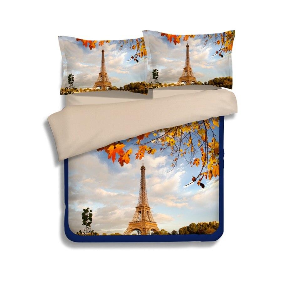 Eiffel Towel Flat Sheet Twin Full Queen King Cotton Bed Coverlet /& Pillowcase