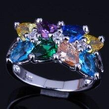 Elegant Multigem Multicolor Brown Morganite 925 Sterling Silver Ring For Women V0087