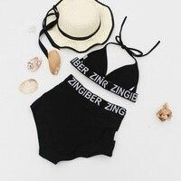 Sex Black High Waist Bikinis Set Woman Beachwear Female Padded Swimsuits Hater Neck Summer Swimming Bathing