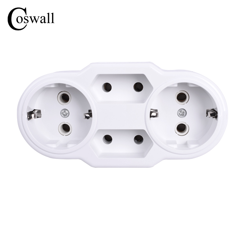 Coswall European Type Conversion Plug 1 TO 4 Way EU Standard Power Adapter Socket 16A Travel Plugs AC 110~250V 2016 south africa travel adapter type m large 15 amp bs 546 2 port multi outlet black color 1 to 2 eu au usa plug 15a
