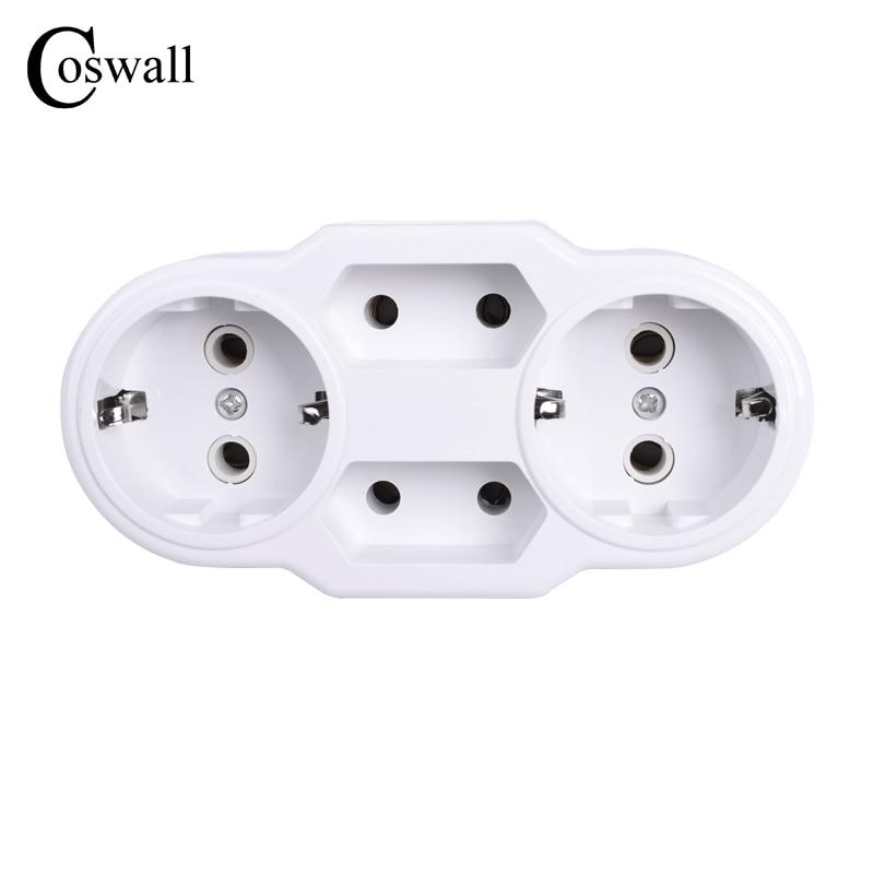 цена на Coswall European Type Conversion Plug 1 TO 4 Way EU Standard Power Adapter Socket 16A Travel Plugs AC 110~250V