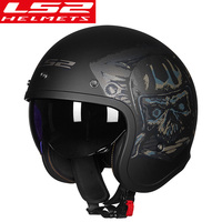 LS2 OF599 Vintage Motorcycle Helmet women man open face retro scooter moto helmet with sun shield motorbike vespa helmets