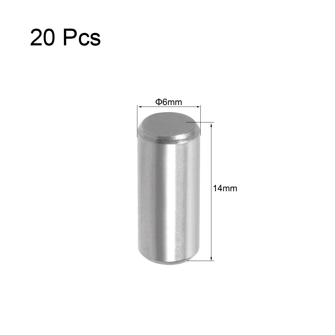 Uxcell 20Pcs M5 M6 304 Stainless Steel Dowel Pin Cylindrical Pin Locating Dowel Shelf Support Pin Fasten Elements M5x20 M6x14