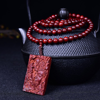 Wholesale Lobular Red Sandalwood Necklace 108 Buddha Bead with No Matter Card Pendant High Density Women Men Hand String Jewelry