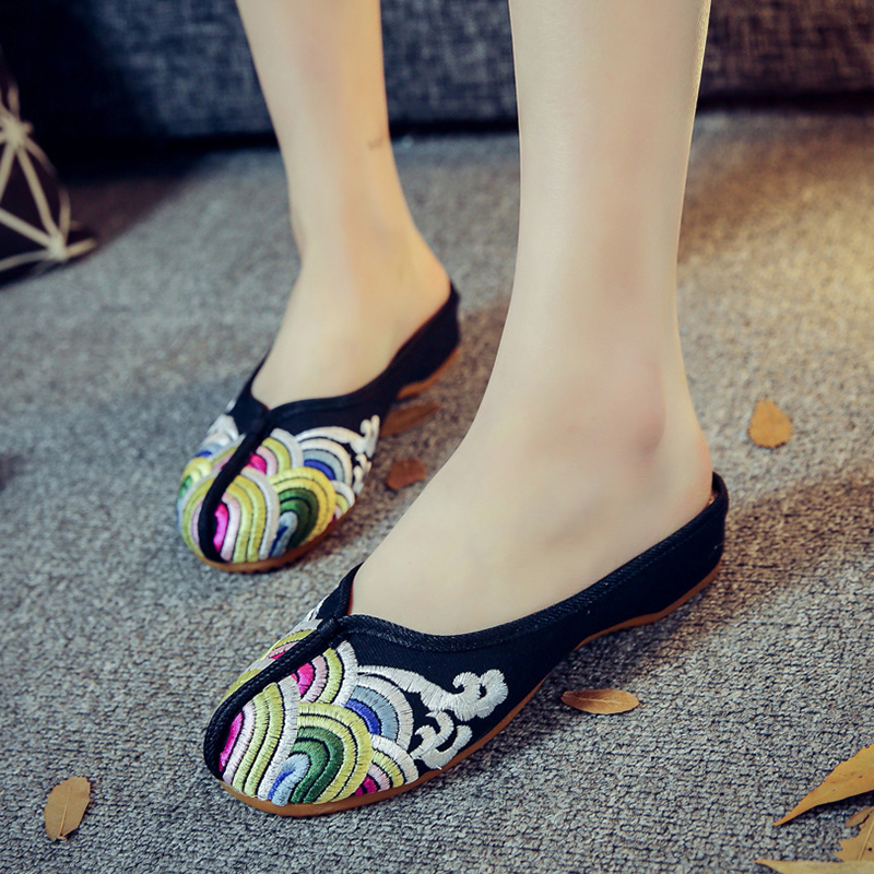 Summer waves embroidery women slippers shoes casual black sexy mules home flip flops sandals women Chinese shoes fashion slides halluci breathable sweet cotton candy color home slippers women shoes princess pink slides flip flops mules bedroom slippers