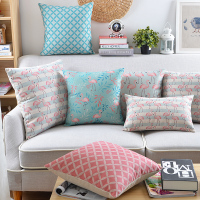Decorative Cushion Covers Cotton Linen Light Blue Pink Flamingo Colorful Feathers Pillow Cover Pillow Case 45x45cm