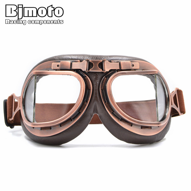 dfe61ec681 Vintage Motorcycle Goggles Retro Aviator Pilot Cruiser Steampunk Motocross  Classic Goggles ATV Bike UV Protection Copper