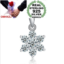 OMHXZJ Wholesale jewelry geometric snowflake woman fashion kpop 925 sterling silver pendant Charms PE 68 ( NO Chain Necklace )