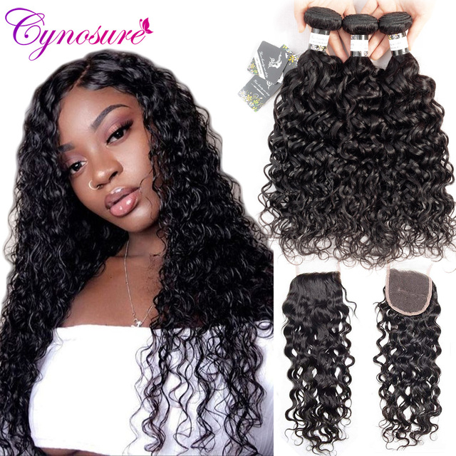 Cynosure Human Hair Water Wave Bundles with Closure Wet and Wavy Brazilian Hair Weave 3 Bundles With Closure