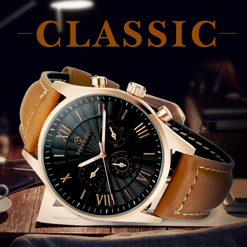 FORSINING Mens Watches Top Brand Luxury Automatic Mechanical Multi-functional 2 Dial Tourbillion Watch Brown Genuine Leather forsining classic series black genuine leather strap 3 dial 6 hands men watch top brand luxury automatic mechanical watch clock