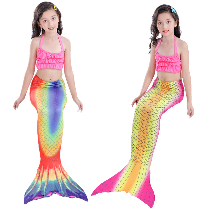 Yy1708 New Fashion Cosplay Costumes Girls Bikini Cartoons Lattices Swimsuit Mermaid Childrens Girl Split Swimwear Fine Workmanship Mother & Kids