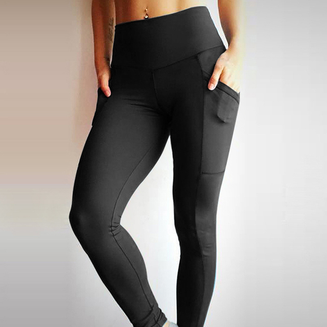 High Waist Solid Color Fitness Leggings with Pockets