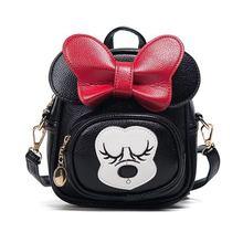 Женщины рюкзак искусственная кожа Для детей мини сумки мультфильм мышь большими ушами с милым бантом рюкзаки подарок для девочек рюкзак Bolsas Черный
