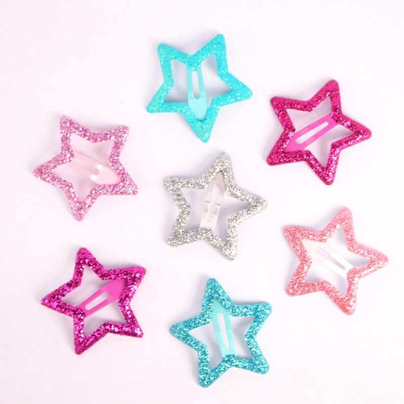 6Pcs Korean Fashion Hairpins Hair Clip 3CM Kids Star Shaped Hair Accessories Glittering Solid Metal Hairgrips for BB Girls Gift