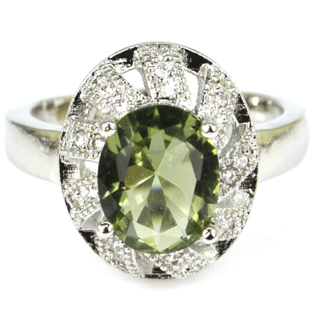 Engagement Rings 6.5# Shecrown Elegant Green Amethyst White Cz Gift For Sister 925 Silver Ring 16x13mm Be Shrewd In Money Matters Jewelry & Accessories
