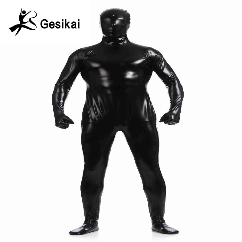 Shiny Metallic Unitard Zentai Suit All Black Full Body -8726