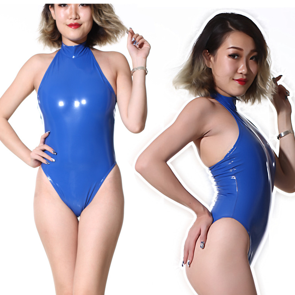 High Cut Swimsuit High Neck Halter Bodysuit <font><b>PVC</b></font> Shiny One Piece Swimwear Body Suit Latex Matt <font><b>Catsuit</b></font> <font><b>Sexy</b></font> Club Dance Wear F62 image