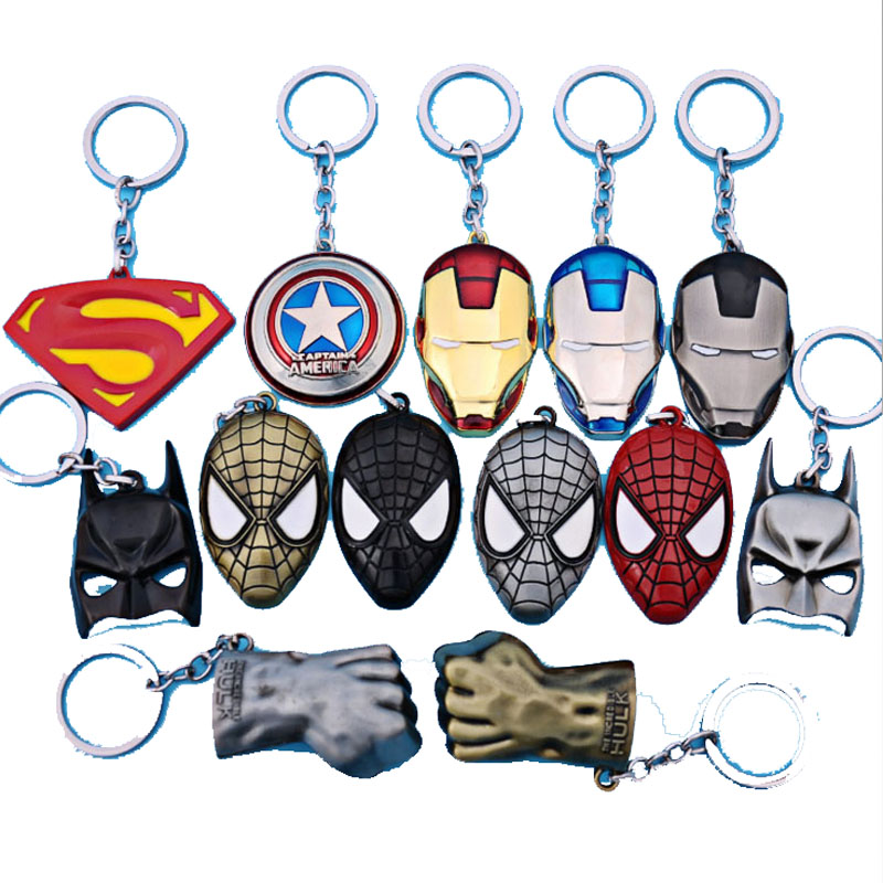 The avengers ironman Deadpool keychain ring toy set 2016 New Superhero Spiderman Captain America shield helmet party decoration