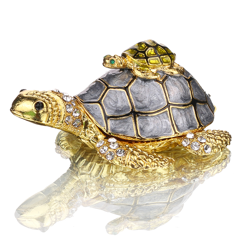 H&D Bejeweled Mother And Baby Turtle Jewelry Trinket Box With Crystals Home Wedding Decorative Gifts For Ladies Girls