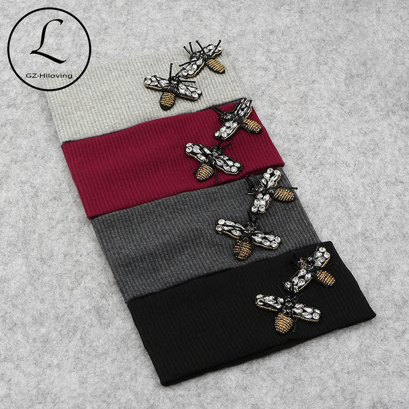 2018 New Headwear Knitted Crochet Women Bee Headband Winter Ear Warmer Thick Elastic Hair Band For Women's Wide Hair Accessories