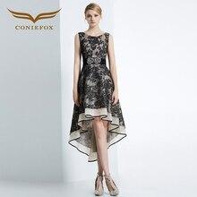 Coniefox 31638 negro bordado moda sexy ladies una línea de vestidos de fiesta de cumpleaños vestido de noche del partido vestido corto vestido de navidad