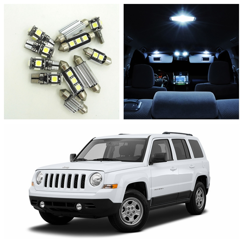 10pcs White Canbus Car LED Light Bulbs Interior Package Kit For 2007-2015 Jeep Patriot Map Dome Trunk License Plate Lamp 14pcs error free white canbus car led light bulbs interior package kit for 2002 2007 volvo v70 estate xc70 map dome trunk lamp
