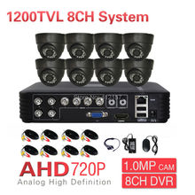CCTV 8CH 1200TVL Security Camera System IR Day Night Dome Video Surveillance KIT 3-in-1 Hybrid NVR HVR P2P PC Phone Mobile View