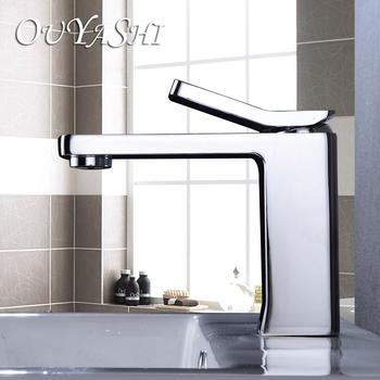 OUYASHI bathroom basin faucet  water tap square contemporary deck mounted single handle single hole cold and hot undercounter
